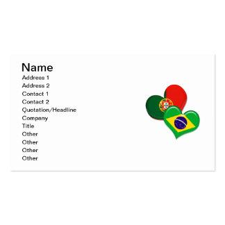 Corazones de Portugal y del Brasil Tarjetas De Visita