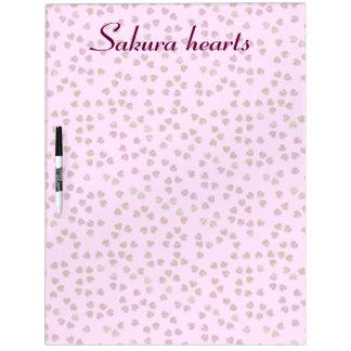 corazones de Sakura Tablero Blanco