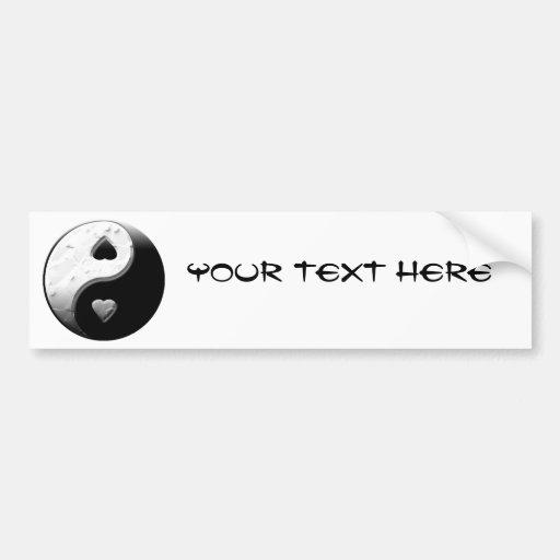 Corazones de Yin Yang Etiqueta De Parachoque