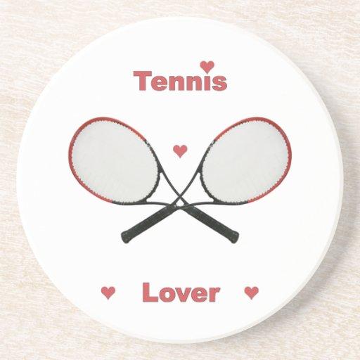 Corazones del amante del tenis posavasos para bebidas