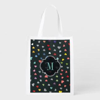 Corazones del amor bolsa para la compra
