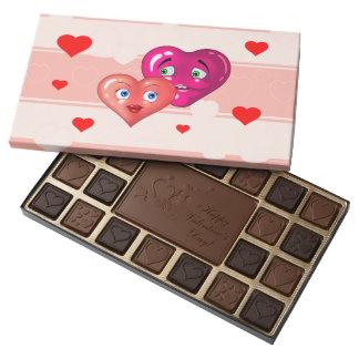 Corazones del amor caja de bombones variados con 45 piezas