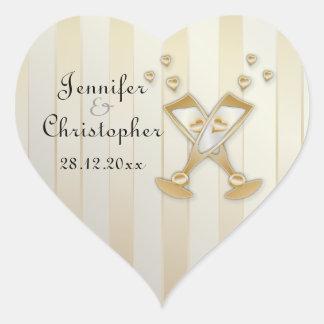 Corazones del amor de Champán del oro que casan el Pegatina En Forma De Corazón
