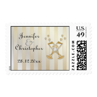 Corazones del amor de Champán del oro que casan el Franqueo