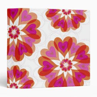 "corazones del amor de la flor de la tarjeta del carpeta 1 1/2"""