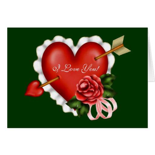 Corazones del amor de la tarjeta del día de San Va