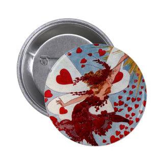 Corazones del amor de la tarjeta del día de San Va Pin Redondo De 2 Pulgadas