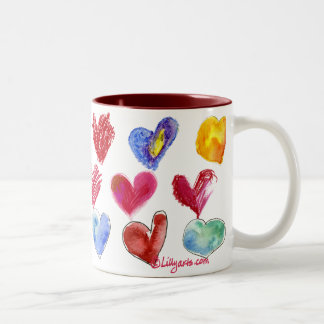 Corazones del amor de la tarjeta del día de San Va Tazas De Café