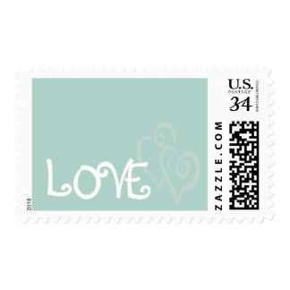 Corazones del amor de la verde menta para casarse sellos