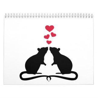 Corazones del amor de las ratas calendario de pared