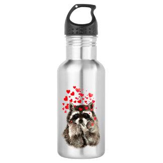 Corazones del amor de los besos del mapache que botella de agua de acero inoxidable