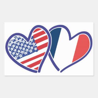 Corazones del amor de los E.E.U.U. Francia Pegatina Rectangular