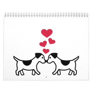 Corazones del amor de los perros calendarios de pared