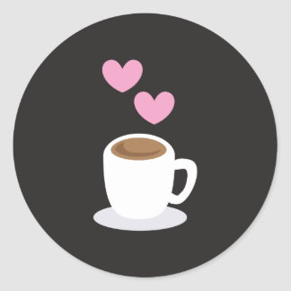 Corazones del amor del café en negro pegatina redonda
