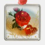 Corazones del amor del rosa rojo y flores amarilla adornos