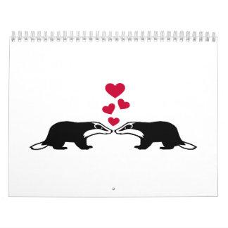 Corazones del amor del tejón de miel calendario de pared