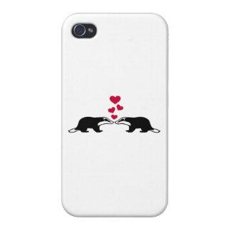 Corazones del amor del tejón de miel iPhone 4 cárcasas