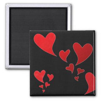 Corazones del amor imán cuadrado