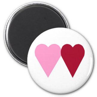 Corazones del amor imán redondo 5 cm