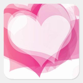corazones del amor pegatina cuadrada