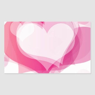 corazones del amor pegatina rectangular