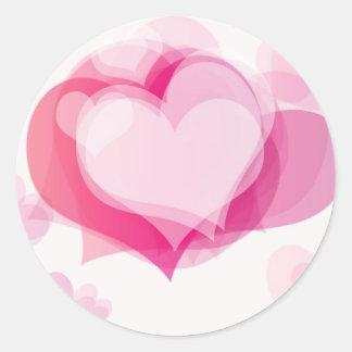 corazones del amor pegatina redonda