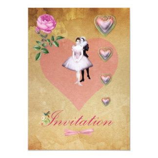 """Corazones del amor y pares rosados del bailarín invitación 5"""" x 7"""""""