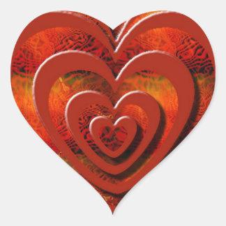 Corazones del apilador pegatina en forma de corazón