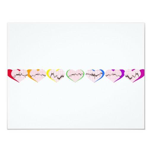 Corazones del arco iris comunicado personalizado