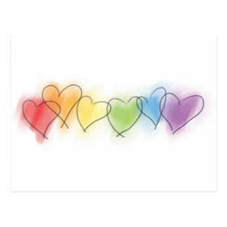 Corazones del arco iris de la acuarela postales