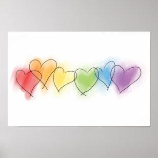 Corazones del arco iris de la acuarela póster