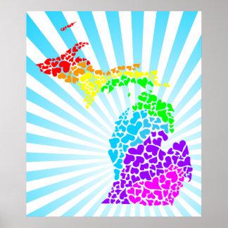 corazones del arco iris de la explosión de Michiga Posters