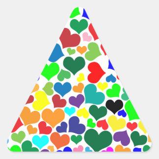 corazones del arco iris de la tarjeta del día de pegatina triangular