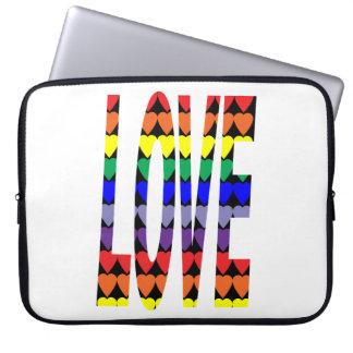 Corazones del arco iris del amor mangas portátiles