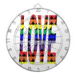 Corazones del arco iris del amor tablero dardos