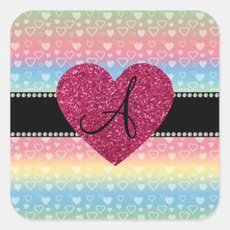 Corazones del arco iris del monograma pegatina cuadrada