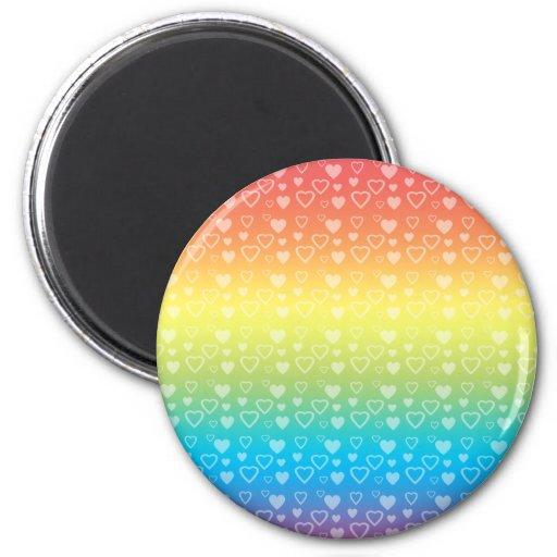 Corazones del arco iris imán redondo 5 cm