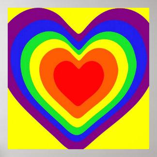 Corazones del arco iris impresiones