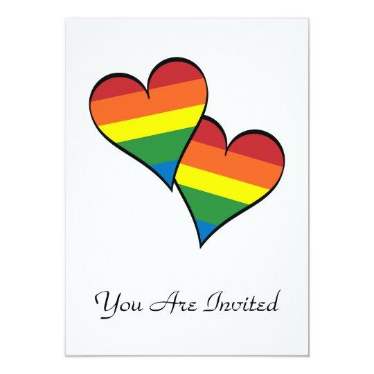 """Corazones del arco iris invitación 4.5"""" x 6.25"""""""