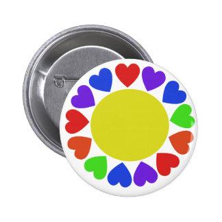 Corazones del arco iris pin redondo 5 cm