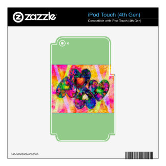 Corazones del arco iris skins para iPod touch 4G