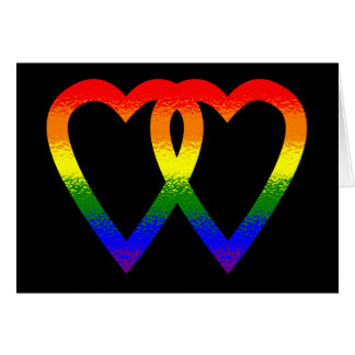 Corazones del arco iris tarjeta de felicitación