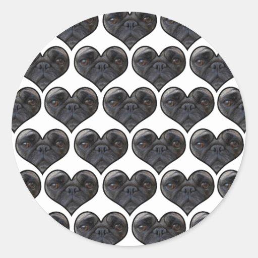 Corazones del barro amasado pegatinas redondas