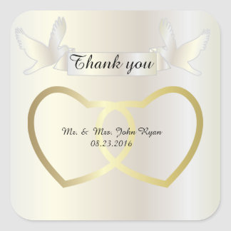 Corazones del boda de oro pegatina cuadrada