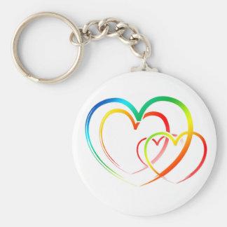 Corazones del boda del arco iris del amor, azul, llavero redondo tipo pin