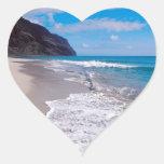 Corazones del boda del contexto del boda de playa calcomanía de corazón