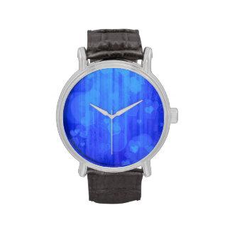 corazones del bokeh 04, azul (i) reloj de mano