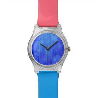 corazones del bokeh 04, azul (i) relojes de pulsera
