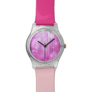 corazones del bokeh 04, (i) rosado relojes de pulsera