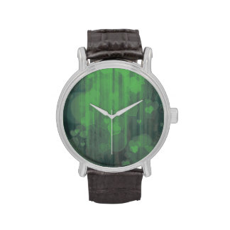 corazones del bokeh 04, (i) verde relojes de pulsera